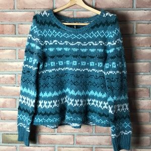 Free People size M green, bulky knit sweater
